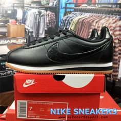 a01bb5b0 2018 Nike Classic Cortez Sneakers For Men Black Leather