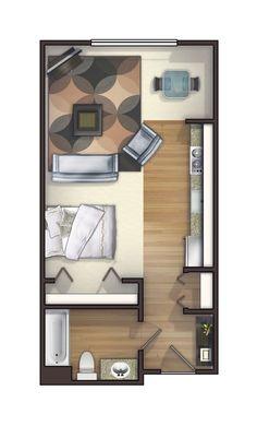 Small Apartment Plans, Studio Apartment Floor Plans, Studio Floor Plans, One Room Apartment, Studio Apartment Design, Small Apartments, House Floor Plans, Studio Apartments, Small Spaces