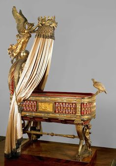 The cradle was a gift from the city of Paris to Napoleon and his second wife, Marie-Louise, on the occasion of the birth of their son, Napoléon-François-Ch. Victorian Furniture, Antique Furniture, Kunsthistorisches Museum Wien, Cradle Bedding, Baby Furniture, Napoleon, Decoration, Pierre Paul, Design