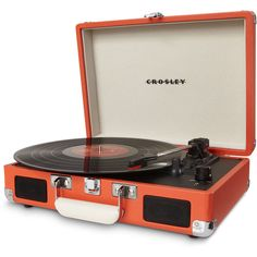 Dot & Bo Portable Record Player in Orange ($80) ❤ liked on Polyvore featuring home, home decor, fillers, decor, music, electronics, orange home decor, music home decor and orange home accessories