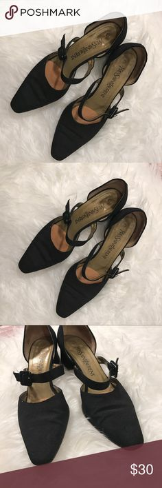 Yves St Laurent black fabric strap pumps Adjustable strap. Fabric upper and leather sole. Ok condition with wear on straps and soles as shown in photos.  These are a must have closet staple. Yves Saint Laurent Shoes Heels