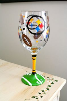 Hand-Painted Steelers Wine Glass. Wife has all the wine glasses in the house. Love this one for me!