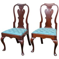 Excellent Pair of Queen Anne Side Chairs | From a unique collection of antique and modern side chairs at https://www.1stdibs.com/furniture/seating/side-chairs/