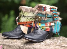Tribal beaded black boho boots from TheLookFactory on Etsy