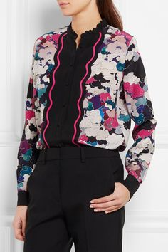 Multicolored silk crepe de chine  Button fastenings through front Fabric1: 100% silk; fabric2: 100% viscose Dry clean  Made in Italy