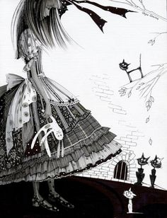 Alice's Wonderland Ch. 1 Down The Rabbit Hole| Serafini Amelia| Black and White illustrations