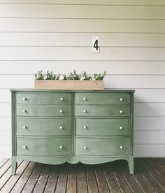 Dresser painted by Amanda of Ferpie and Fray in Real Milk Paint Co. Earth Green
