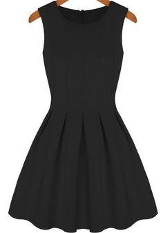 Vestido plisado cuello redondo sin manga-negro 13.66