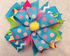 Birthday funky fun girls toddler hair bow on Etsy, $8.00