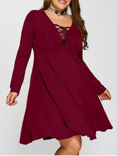 GET $50 NOW | Join RoseGal: Get YOUR $50 NOW!http://www.rosegal.com/plus-size-dresses/plus-size-lace-up-empire-waist-940094.html?seid=2275071rg940094