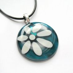 Hand painted daisy glass pendant  aqua  by azurine on Etsy, $30.00