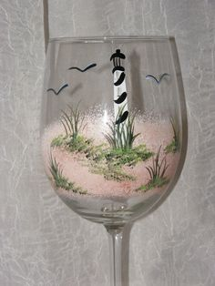 Items similar to Lighthouse Hand Painted Wine Glasses on Etsy Wine Glass Crafts, Wine Craft, Wine Bottle Crafts, Hand Painted Wine Glasses, Painted Wine Bottles, Decorated Bottles, Bottle Painting, Bottle Art, Verre A Vin Design