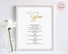 Gold Foil Bar Menu sign printable  Instant download  Digital
