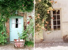 Aqua door with picnic basket and cobblestone lane, photog: caroline arber