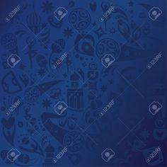 2018 World Cup Football Russia. Soccer blue pattern, football symbols, russian folk art elements abstract illustration. Stock Vector - 93927008