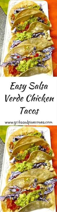 Delicious, healthy, quick and easy Salsa Verde Chicken Tacos are perfect for when you are short on time and motivation and perfect to serve for  Cinco de Mayo! via @http://www.pinterest.com/gritspinecones/