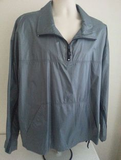 Men's ANCHOR BLUE ACTIVE Jacket XL Gray Solid Windbreaker 100% Nylon Henley Mock #AnchorBlue #Windbreaker #ebay #AnchorBlue #Windbreaker