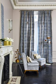 As part of the Cowtan brand, Larsen uses traditional and modern weaving methods that are innovative in both design and texture. Modern Curtains, Drapes Curtains, Window Coverings, Window Treatments, Home And Living, Living Room, Grey Room, Contract Furniture, Curtain Designs