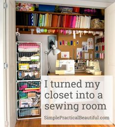 Lots of good tips for making a closet a work room, like putting lighting and electrical for a sewing room | organization and storage | craft room
