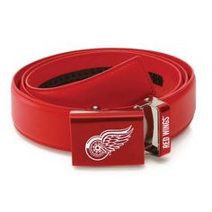 Detroit Red Wings Zephyr Leather Mission Belt   Red