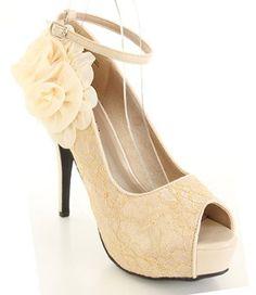 Amazon.com: Nude Lace Overlay Floral Peep Toe Platform Heels (7): Shoes