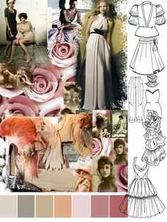 A mood board is a tool used by designers to help them get a good idea of what their clients are looking for. Mood boards are basically. Textiles Sketchbook, Fashion Sketchbook, Fashion Sketches, Fashion Illustrations, Fashion Art, Fashion Design, Fashion Story, Flower Fashion, Fashion Ideas
