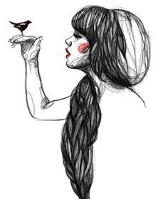 Illustration by Paula Bonet Sketch Manga, Drawing Sketches, Art Drawings, Drawing Ideas, Sketching, Paula Bonet, The Garden Of Words, Hipster Girls, Arte Sketchbook