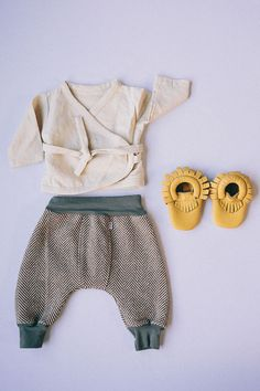 Linen Wrap Baby Top // Wool Baby Pants