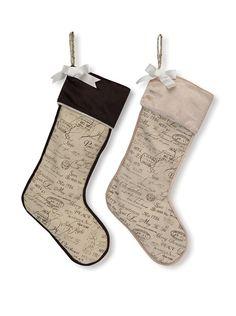 Melrose International Set of 2 Vintage Christmas Cursive Print Stockings, http://www.myhabit.com/redirect/ref=qd_sw_dp_pi_li?url=http%3A%2F%2Fwww.myhabit.com%2Fdp%2FB00LC9AJEK