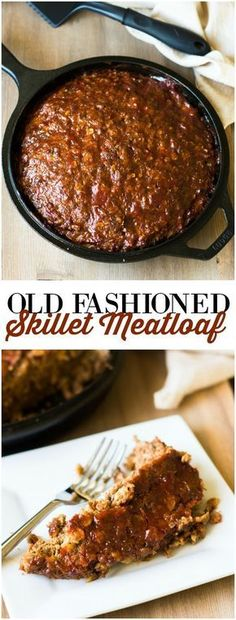Old Fashioned Skillet Meatloaf - This classic meatloaf recipe cooks to perfection in a cast iron skillet. It always makes me think about Sunday dinners at Grandma's house as a child. You're going to love it! loaf Old Fashioned Skillet Meatloaf Cast Iron Skillet Cooking, Iron Skillet Recipes, Cast Iron Recipes, Skillet Dinners, Cooking With Cast Iron, Ground Beef Recipes Skillet, Pasta Dinners, Dutch Oven Cooking, Dutch Oven Recipes