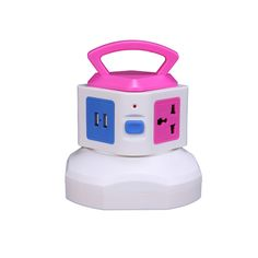 YOTOSAN Smart 4-Outlet Home/ Office Over Current Protector Worldwide Voltage Power Socket Vertical Tower Multiple Socket With 2 USB Outputs for iPhone 6/6 Plus/5S/5, iPad Air/Mini, Samsung Galaxy Note 4/Note 3/Note 2/S5/S4/S3 and other Devices,Including Power Cord (Pink)