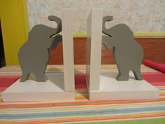 Handmade custom painted wooden elephant bookends by tomscraftcastle on Etsy https://www.etsy.com/listing/224968410/handmade-custom-painted-wooden-elephant