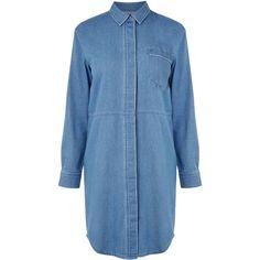 Warehouse Denim Shirt Dress (4.215 RUB) ❤ liked on Polyvore featuring dresses, tops, shirts, denim, shirt-dress, long shirt dress, blue shirt dress, blue long sleeve dress and blue dress
