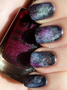 Adventures In Acetone: Galaxy Nail Tutorial http://www.adventuresinacetone.com/2011/10/galaxy-nail-tutorial.html