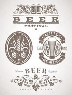 Descargar - Cerveza emblemas y etiquetas - ilustración vectorial — Ilustración de stock