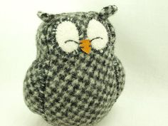 Owl Sleepy Upcycled Sweater in Dark Grey and White by ForMyDarling, $29.00