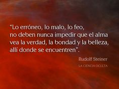 Frase Rudolf Steiner. La Ciencia Oculta. Rudolf Steiner, Schools Around The World, Spiritual Messages, Socrates, Life Quotes, Spirituality, Mindfulness, Writing, Coaching