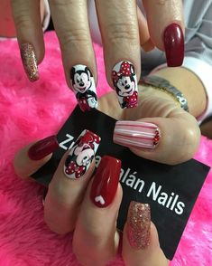 Mickey Nails, Minnie Mouse Nails, Minnie Cake, Pale Pink Nails, Blue Nails, My Nails, Disneyland Nails, Birthday Nails, Nail Inspo