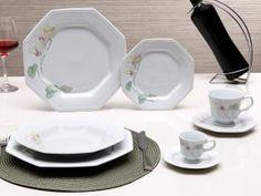 Aparelho de Jantar Chá Café 42 Peças Schmidt - Porcelana Octogonal Classic Encanto
