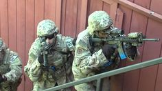 Members of the 219th Security Forces Squadron, stationed at Minot Air Force Base, conduct military operations in urban terrain at Mout Village training area aboard Camp Grafton, North Dakota.