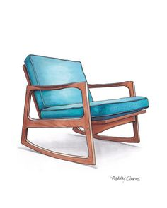 "8x10 Blue Danish Teak Chair Drawing by Ashley Cousins. Etsy shop- ""RenderingsByAshley"" © 2013 Ashley Cousins. All Rights Reserved."