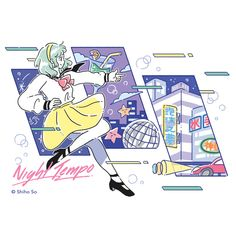 Nighty Tape by Night Tempo, released 25 December 2017 Night Side Tempo Side 'Nighty Tape' will bring aesthetic life to you. 'Nighty Tape' have 34 fresh retro beats. Old Anime, Anime Art, Character Illustration, Illustration Art, Colorful Drinks, Retro Aesthetic, Anime Style, Art Sketches, Cover Art