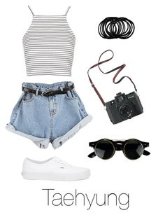 """""""Amusement Park with Taehyung"""" by btsoutfits ❤ liked on Polyvore featuring Vans, Madewell and Topshop"""
