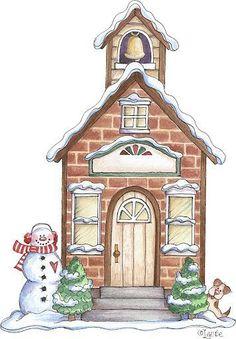 Christmas House Drawings Printable-Stock and drawings to print Christmas Scenes, Christmas Villages, Christmas Art, Vintage Christmas, Xmas, Christmas Ornaments, Christmas Graphics, Christmas Clipart, Christmas Printables