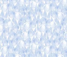 blue tulips fabric by glimmericks on Spoonflower - custom fabric