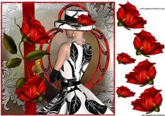 Beautiful lady In Black And White Red Roses on Craftsuprint designed by Marijke Kok - gorgeous lady with red roses on a lace background with art deco frame - Now available for download!