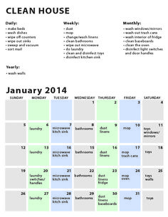 Fillable and Printable Cleaning Calendar