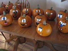 more painted pumpkin faces