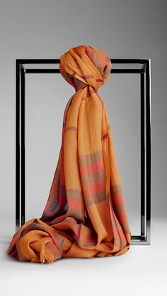 Check Wool Silk Scarf | Burberry