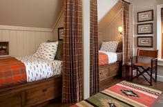 kids guest room plaid bedding and plaid curtains